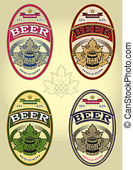 set of four oval labels for beer - set of four oval vector...