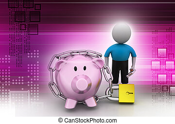 Piggy bank locked with chain and padlock