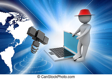 3d man standing with a laptop