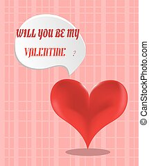 Valentines card with red heart on pink background, will you...