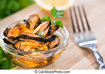 Mussels with fresh herbs - Grilled Mussels pickled in oil...