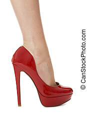 Woman Legs in Elegant Red Shoes - Flawless Woman Legs in...