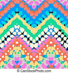 Multicolor hand drawn pattern zigzag - Striped hand painted...