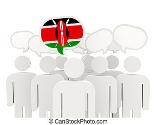 People with flag of kenya