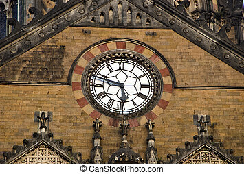 ornate clock on asia train station wall - ornate clock on...