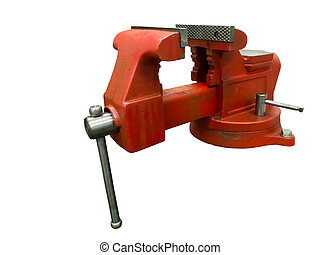 Vise - Red table vise isolated on white background