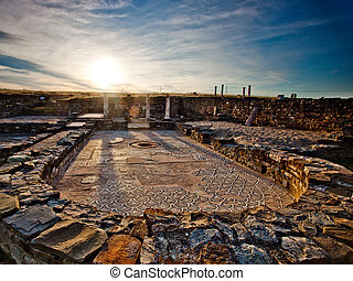Sunset over the ancient roman city of Stobi in the Republic...