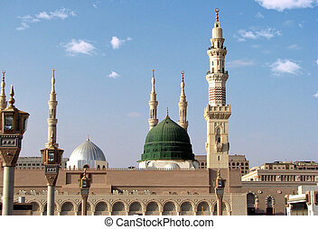 Dome and minarets of masjid nabavi - Masjid Al Nabawi or...