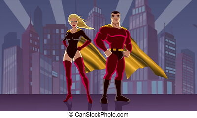 Superhero Couple 2 - Looping animation of male and female...