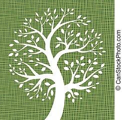 White Tree icon on Green Canvas texture