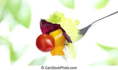 fork salad diet concept - fork salad with tomato olive oil...