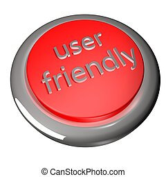 User friendly button, isolated over white, 3d render