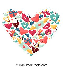 Background with Valentine's and Wedding icons. - Background...