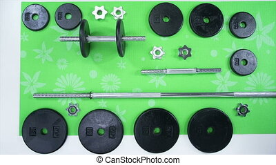 Weight Set on Mat - Iron Hand weight set exploded view build