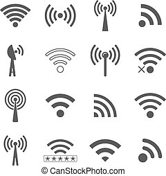 set of different black vector wifi icons, concept of...