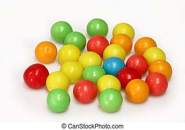 Chewing gum balls on white background