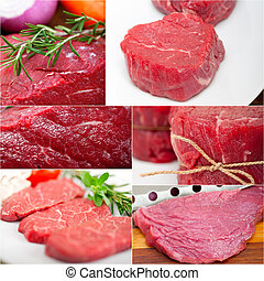 different raw beef cuts collage - collection of different...
