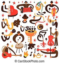 jazz musicians - vector cartoons - jazz musicians - set...