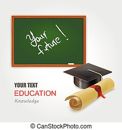 infographic Template with chalkboard and Graduation cap concept vector illustration
