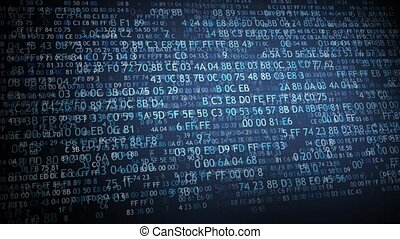 Hexadecimal code running up a computer screen. Blue digits.