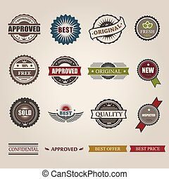 vector commercial stamps set in vintage style for business ,...