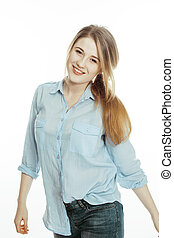 cute young woman making cheerful faces on white background,...