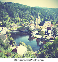 Small old town in Czechia - View of small old town near...