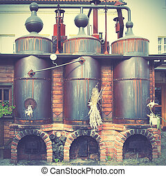 Old brewery.  Retro style filtred image