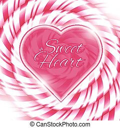 Sweet heart - background with candy cane spiral