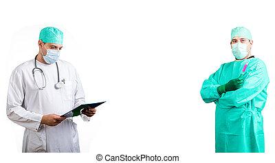 médico, docotrs, en, uniforme,