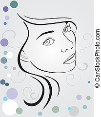 young woman - vector illustration of a young woman face