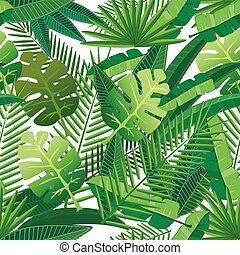 Tropical leaves seamless pattern - Tropical leaves floral...