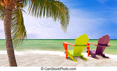 Miami Beach Florida - Panorama of colorful lounge chairs at...