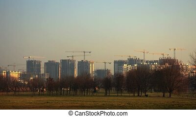 Construction of multi-storey buildings. A large number of...