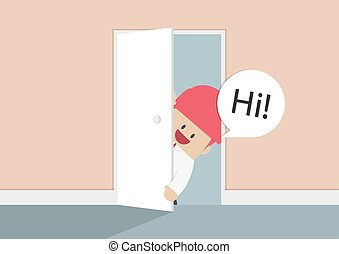 Businessman open the door and say hi, VECTOR, EPS10