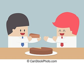 Businessman give a piece of cake to another, Market share...