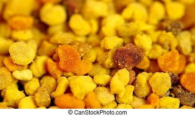 Yellow bee pollen - Detail of dried bee pollen