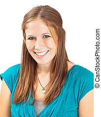Head Shot Of Young Woman Light Brown Hair - A close-up photo...
