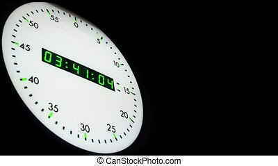 White office clock, Strikes Twelve. TV Clock