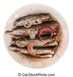 oily sardines with onion