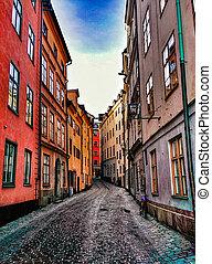 Gamla Stan - street in Old Town (Gamla Stan) in Stockholm,...