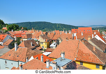 Sighisoara medieval city, Transylvania, Romania, top view
