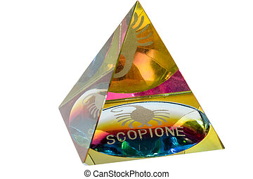 glass pyramid with scorpion zodiac sign a