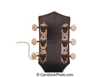 Vintage Guitar Headstock - View of vintage, rusty, cracked,...