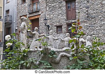 Contrapas sculpture at Andorra-La-Vella - Contrapas...