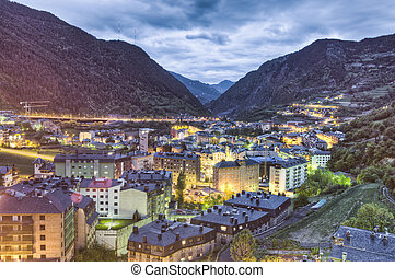 Encamp aerial view, Andorra - Encamp as seem from Sant Roma...