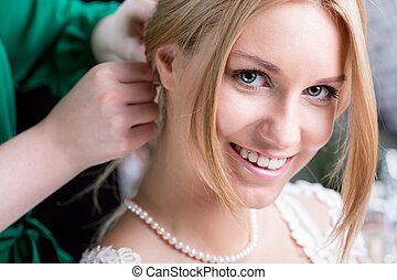 Beauty bride before wedding - Portrait of beauty smiling...