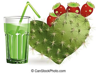 cactus juice and glass on white background
