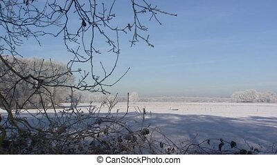 Rural area with snow - pan - Pan - Rural area with frost and...
