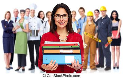 Estudiante, mujer, con, books.,